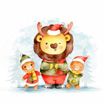 Акварель рождественский лев с имбирным хлебом