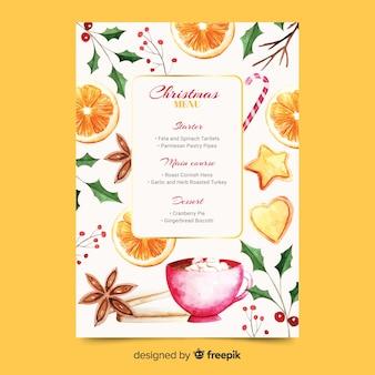 Watercolor christmas menu template