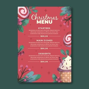 수채화 크리스마스 메뉴 템플릿
