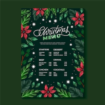 Watercolor christmas menu template