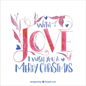 Watercolor christmas message lettering