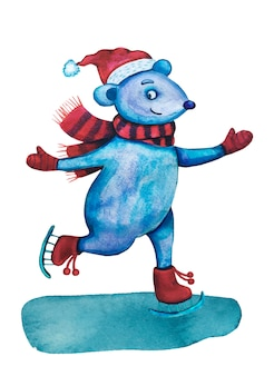 Watercolor christmas mouse on ice skating.