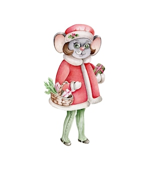 Watercolor christmas mouse.vintage style.retro illustration.mouse with presents.santa clause costume.cartoon character
