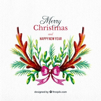 Watercolor christmas and new year background