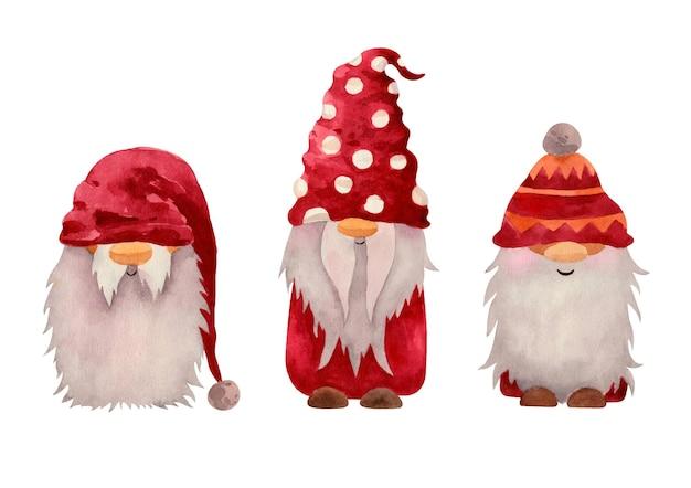Акварельные рождественские нордические гномы в красной ткани