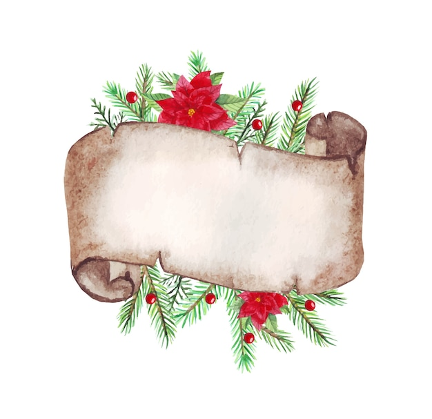 モミの枝、ポインセチアと水彩のクリスマスの古い巻物紙。
