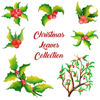 Акварельная коллекция рождественских украшений