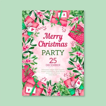 Watercolor christmas party flyer template