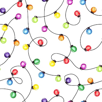 Watercolor christmas party lights garland. colorful seamless pattern.
