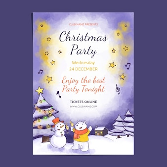 Watercolor christmas party poster
