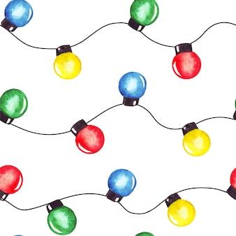 水彩画のクリスマスパーティーストリングライトガーランド。カラフルなシームレスパターン。