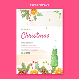Watercolor christmas party vertical poster template