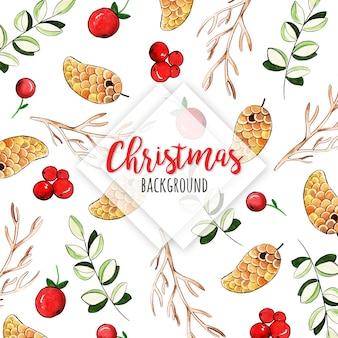 Акварель рождественский шаблон фон