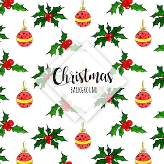 Watercolor christmas pattern background