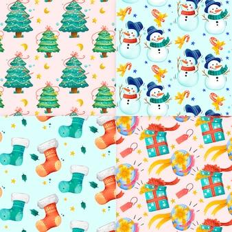 Акварель рождественская коллекция шаблонов