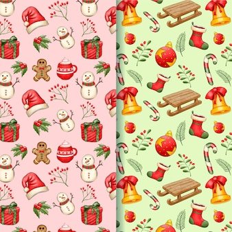 Watercolor christmas pattern collection
