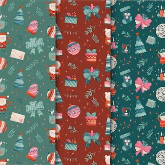 水彩のクリスマスパターンコレクション