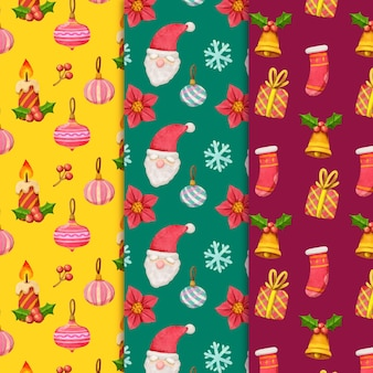 Коллекция акварельных рождественских узоров