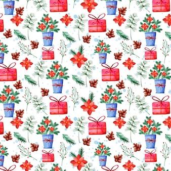 수채화 크리스마스 패턴 디자인