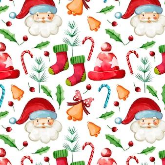 Акварельный рождественский узор