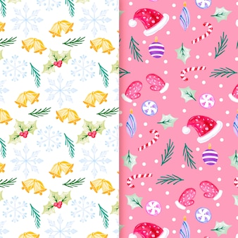 Watercolor christmas pattern pack