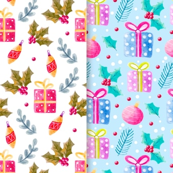 Watercolor christmas pattern set