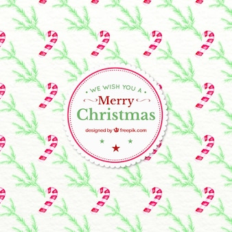 Watercolor christmas pattern with candy canes