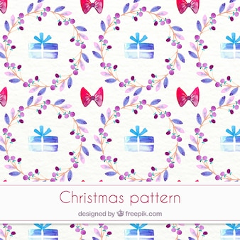 Giftboxes와 수채화 크리스마스 패턴