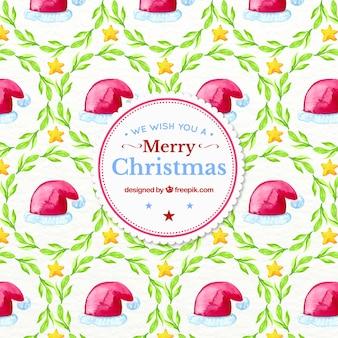 サンタクロースの帽子と水彩クリスマスパターン