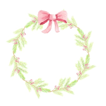 Watercolor christmas pine leaf red berry with red ribbon wreath frame with copy space