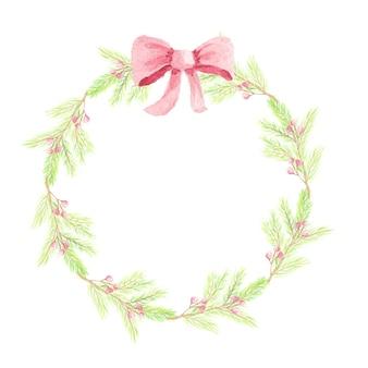 コピースペースが付いている赤いリボンの花輪フレームが付いている水彩画のクリスマスの松の葉の赤いベリー
