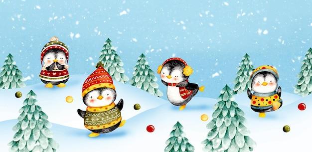 雪の背景に水彩のクリスマスペンギン