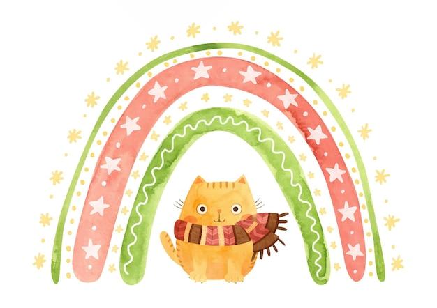 Arcobaleno di natale ad acquerello con stelle di fiocchi di neve e gatto con una sciarpa