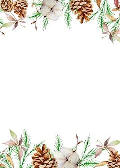冬のモミと松の枝、松ぼっくりと綿の水彩画のクリスマスの長方形のフレーム。