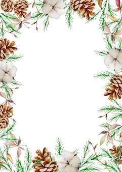冬のモミと松の枝と水彩のクリスマス長方形フレーム