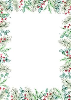 冬のトウヒと松の枝、ベリーとユーカリの枝を持つ水彩画のクリスマスの長方形のフレーム。