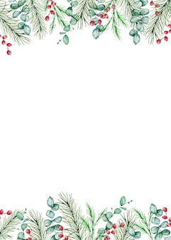 Watercolor christmas rectangular frame with winter spruce and pine branches