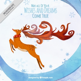 Watercolor christmas reindeer background