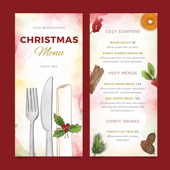 Watercolor christmas restaurant menu