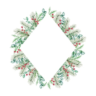 Watercolor christmas rhombus frame with winter spruce and pine branches, eucalyptus berries