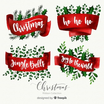 Watercolor christmas ribbon collection  with lettering