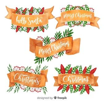 Watercolor christmas ribbon collection