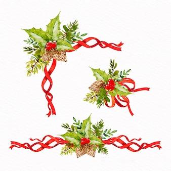 Набор акварельной рождественской ленты