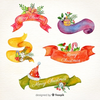 Watercolor christmas ribbons collection