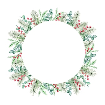 수채화 크리스마스 라운드 프레임 겨울 전나무와 소나무 가지