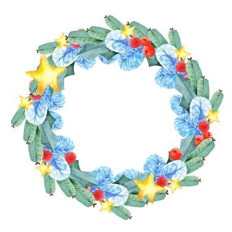 Акварель рождественский круглый венок. векторная граница