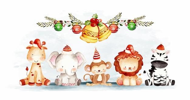 飾りと水彩のクリスマスサファリ動物
