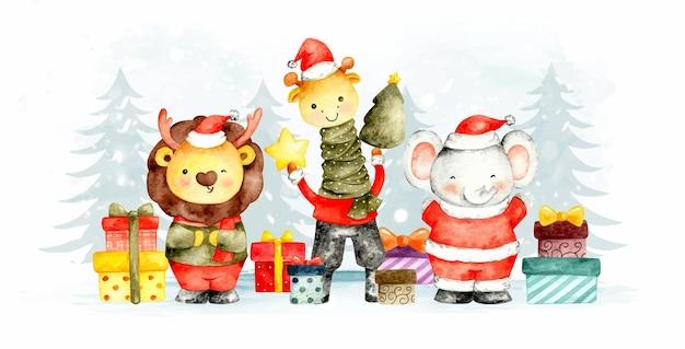 水彩画のクリスマスサファリの動物とギフトのバナー