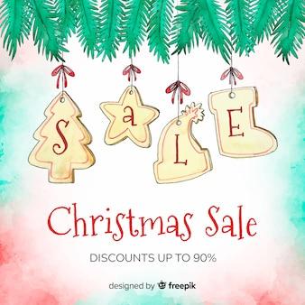 수채화 크리스마스 판매 배경