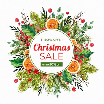 Акварель рождественская распродажа баннер с ветвями и дольками апельсина